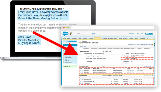 Automated Activity Capture for Salesforce or Dynamics