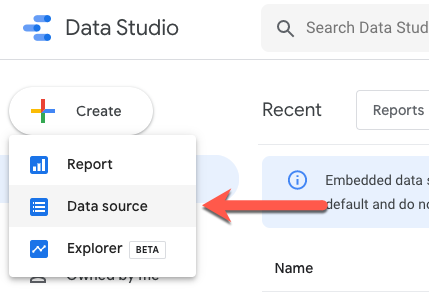 Google Data Studio New Data Source